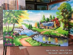 Hình ảnh mẫu tranh vẽ ngôi nhà thực tế tại AmiA Landscape Drawings, Landscape Pictures, Landscape Paintings, Drawing Scenery, Nature Drawing, Oil Painting On Canvas, Canvas Art, Nature Paintings, Flower Art