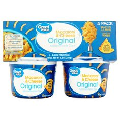 Advertisement - Pack) Great Value Original Macaroni & Cheese, oz, 4 pack Mac And Cheese Cups, Macaroni Cheese, Dinner Box, Chicken Meal Prep, Food Out, Chocolate Gifts, Jelly Beans, Easy Snacks, Recipe Of The Day