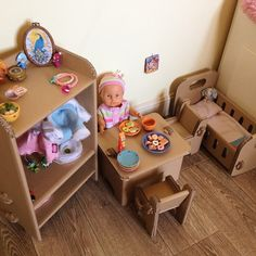 Cardboard furniture for dolls