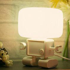 Vktech Cute Robot LED Sound Light Control Night Light Home Bedroom Table Lamp (White Light)