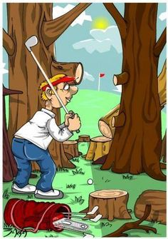 "Last words of a golfer standing in the woods? ""I can see a gap."" I Rock Bottom Golf #rockbottomgolf"