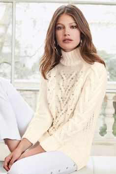 Together Pearl Cable Knit Sweater at EziBuy New Zealand. Buy women's, men's and kids fashion online. White Skinny Jeans, Model Pictures, Online Clothing Stores, Sweater Fashion, Street Chic, European Fashion, Cable Knit Sweaters, Fashion Outfits, Womens Fashion