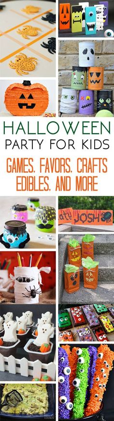 Hosting a Halloween party for kids? Armed with lots of Halloween party ideas you can host a fantastic bash that your littles with love. Great ideas for make & take crafts, spooky DIY decorations, homemade party favors and games, and lots of adorably delic Halloween Class Party, Halloween Crafts For Kids, Halloween Games, Halloween Birthday, Halloween Activities, Holidays Halloween, Halloween Diy, Happy Halloween, Halloween Decorations