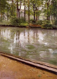 Gustave Caillebotte [French Impressionist Painter, The Yerres, Rain (also known as Riverbank in the Rain), 1875 oil on canvas Indiana University Art Museum (United States) French Impressionist Painters, Expositions, Renoir, Fine Art, Claude Monet, Oil Painting Reproductions, Art Museum, Painting & Drawing, Landscape Paintings