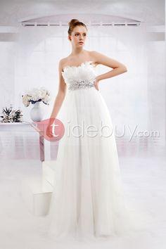 帝国床まで届く長さスウィートハートチュールウェディングドレス