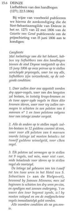 Gaeyfeeste den 15 juny 1806 gegeven door de Sint-Sebastiaansgilde van Deinze