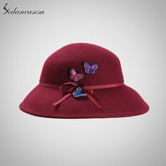 Autumn Winter Female Fedora hat handmade Butterfly European Wide Brim Hat Fashion England Wool Felt hat Like and Share if you agree! #shop #beauty #Woman's fashion #Products #Hat