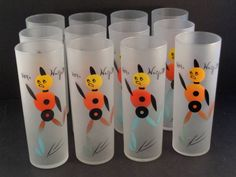 """Barware Collection - FEDERAL GLASS - """"HEY, WAIT FOR ME!"""" - COLLINS GLASSES"""