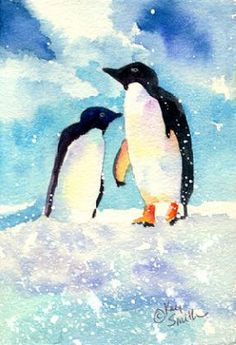 penquin watercolor | 7x5 watercolor done as a gift type card for Christmas for my mom's ...