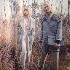 Check Coat and Blue Bomber Grazia Magazine October 2014