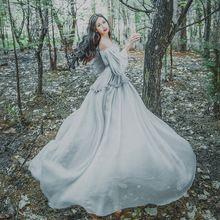 0d0224743d3b5e Gratis schip grijs chiffon bubble lantaarn mouwen victoriaanse lange jurk  middeleeuwse Renaissance prinses Gothic Marie
