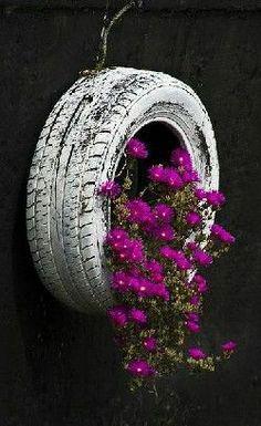 autoband een kleurtje geven,ophangen met hangplant