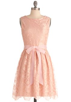 Looking Like a Million Bucks Dress in Blush - Mid-length, Pink, Lace, Wedding, Party, Solid, Sleeveless, Pastel, Belted, Cocktail, Fit & Flare, Top Rated