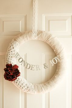 Love this! Burlap and lace wreath