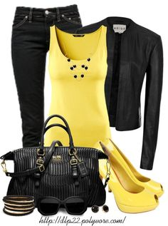 """Black and Yellow"" by dlp22 on Polyvore"