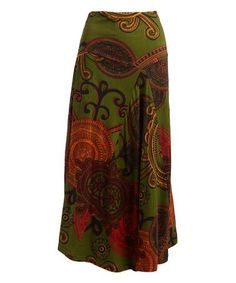 Another great find on #zulily! Green & Orange Geometric Maxi Skirt - Plus Too #zulilyfinds