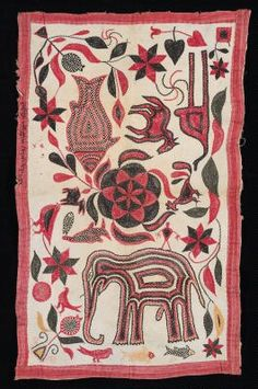 Culture:	Nakshi, Bangladesh Style:	20th century Physical Description:	white ground with red, yellow, pink and brown stitching; red trim; fre...