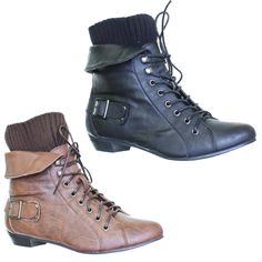 WOMENS LACE UP KNITTED CUFF LEATHER STYLE LADIES ANKLE BOOTS SIZE 3-8 | eBay