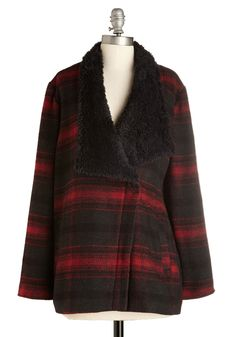 I'll Have What She's Cabin Coat. Settle in for some hot chocolate with the girls in this cozy plaid coat from Jack by BB Dakota. #red #modcloth