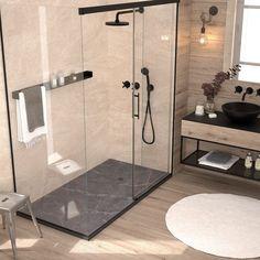 Slate Shower, Shower Base, Shower Floor, Rustic Bathroom Designs, Bathroom Interior Design, Modern Interior Design, Master Shower, Bathroom Tub Shower, Basement Bathroom