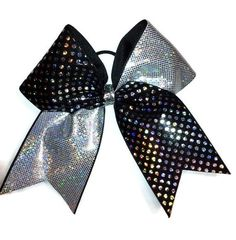 Cheer bow black with silver dots and silver hologram by Lebow1 on Etsy https://www.etsy.com/listing/161237863/cheer-bow-black-with-silver-dots-and