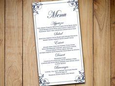"""DIY Wedding Menu Template Instant Download - Printable Menu """"Charlan"""" Dark Navy Blue Printable Wedding Menu Card Template Entree Card by PaintTheDayDesigns on Etsy"""