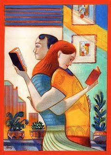 illustration by italian illustrator lorenzo matteoti of a couple reading