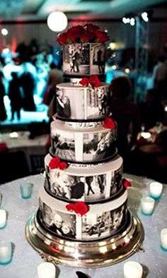 Ahhh i looove this idea!! Edible photos on a cake… now that is different!