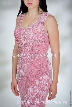 Платья ручной работы. Вязанное,вечернее ,в технике ирландское кружево,платье