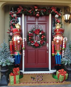 Make some creative Christmas front porch decor! Outdoor Christmas decorations for every family! Let's get started decorating your front porch for Christmas! Christmas Front Doors, Christmas Porch, Noel Christmas, Modern Christmas, Christmas Lights, Christmas Wreaths, Christmas Entryway, Christmas Vacation, Diy Christmas Door Decorations