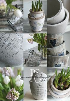 LOVE THE finish on the little floral pot...white crackle, taupe rim, petite floral