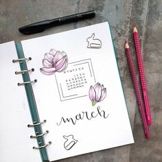 Bullet journal monthly cover page, March cover page, flower drawing.   @seras.bullet.journal