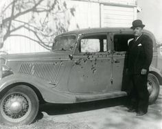 photograph of the Bonnie and Clyde 1934 bullet ridden Ford involved in the shootout. | outlaws | criminals | infamous gangsters | www.republicofyou.com.au