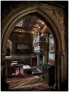 This design uses the classic Gothic arch to create a doorway. Gothic Mansion, Gothic House, Victorian Gothic, Victorian Homes, Gothic Castle, Medieval Castle, Gothic Interior, Interior And Exterior, Future House