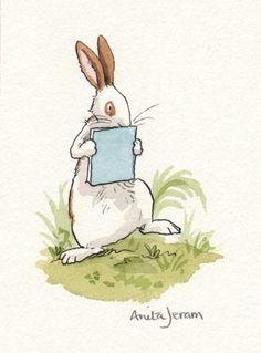 Het konijn vindt boeken heerlijk - Anita Jeram - Children's Book illustrations