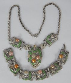 Vintage Rhinestone Enamel Faux Pearl Pot Metal Bracelet & Lavalier Necklace Set
