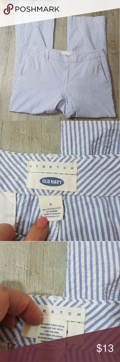 EUC Old Navy Sz 6 Seer Sucker Capris Blue with white stripe. Seer Sucker Capri pants size 6. Old Navy Brand. See pics for measurements,  size, and material. Excellent used condition.  No stains, rips, or holes. Old Navy Pants Capris