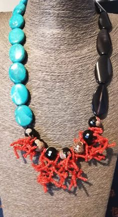 Turquoise Necklace, Beaded Necklace, Jewerly, Coral, Fashion, Beaded Collar, Moda, Jewlery, Pearl Necklace