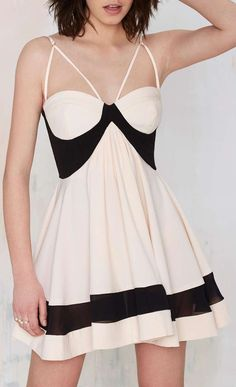 Creme and black Nasty Gal Party On Fit & Flare Dress