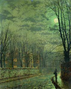 darksilenceinsuburbia: John Atkinson Grimshaw (English, 1836-93) ~ Going Home By Moonlight; via Bridgeman Art Library@private collection, photo©Christie's Images