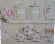 Gail McCormack ~ ORIGINAL Whimsical PAINTING - The Kitchen Shelf - Postage is included Australia wide
