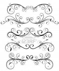 Decorative Elem Flowers Ornamental Ornamental Scro Outline Scroll Tattoo Stock Photos, Pictures, Royalty Free Decorative Elem Flowers Ornamental Ornamental Scro Outline Scroll Tattoo Images And Stock Photography