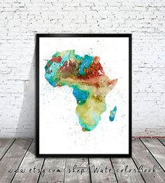 Hey, I found this really awesome Etsy listing at https://www.etsy.com/listing/186726910/watercolor-africa-map-africa-map