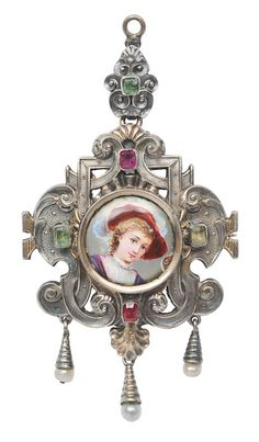 "A pendant with a portrait after Hans Makart Austria, c. 1880. Silver, partly with rest of gilding and indistinctly marked, needle marked ""AB"" and ""M"". Porcelain, painted. Decorated with red and green coloured stones and 3 small pearls. Small chips. Can be worn as a brooch as well."