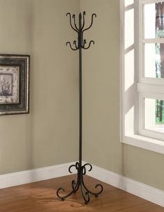 Traditional Black Metal Coat Hat Rack Hanger Hall Tree w/ Curved Feet Coaster Furniture, Home Furniture, Furniture Ideas, Iron Furniture, Recycled Furniture, Bathroom Furniture, Office Furniture, Freedom Furniture, Standing Coat Rack