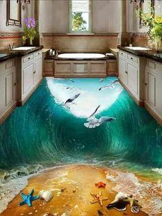 customized wallpaper Home Decoration Waves Seabirds beach Toilets Bathroom Bedroom Floor pvc wallpaper