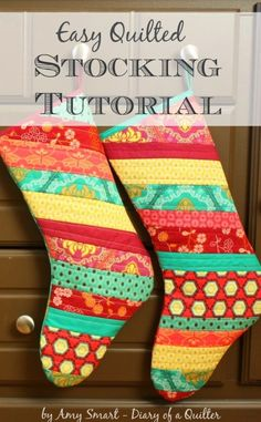 Christmas Stocking Tutorial   Diary of a Quilter - a quilt blog Diy Christmas Stocking Pattern, Quilted Christmas Stockings, Handmade Christmas, Christmas Crafts, Christmas Ideas, Christmas Christmas, Christmas Tables, Purple Christmas, Nordic Christmas
