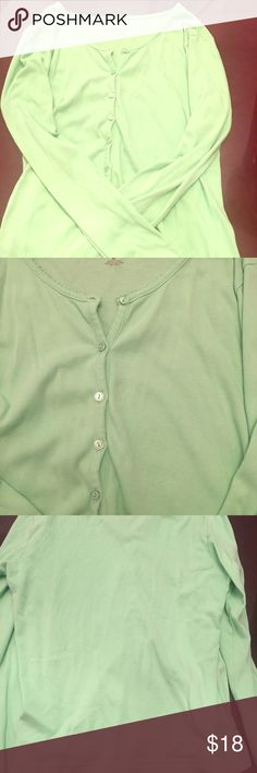 Mint green cardigan Kim Rodgers medium mint cardigan, great for layering, in good condition. Kim Rogers Tops Blouses