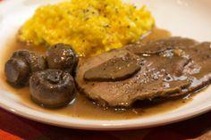 The softest beef meat with mushroom-wine sauce. Mushroom Wine Sauce, Yummy Food, Delicious Recipes, Greek Recipes, Truffles, Steak, Recipies, Stuffed Mushrooms, Beef
