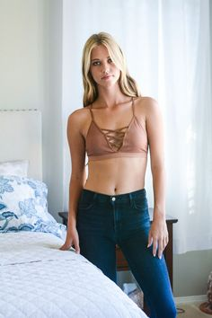 Seamless Lace Up Racer Back Bralette   COPPER